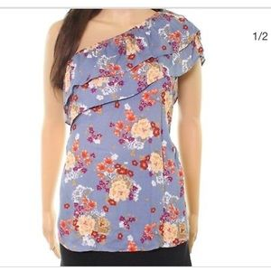 Socialite One Shoulder Ruffle Floral Top